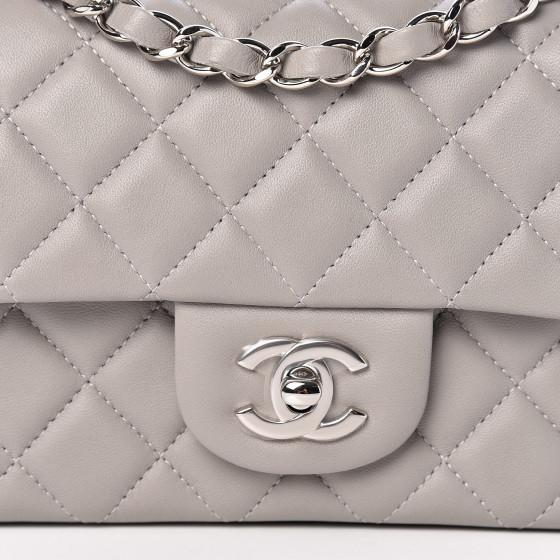 CHANEL Lambskin Quilted Mini Flap Grey - LECLASSIQUE