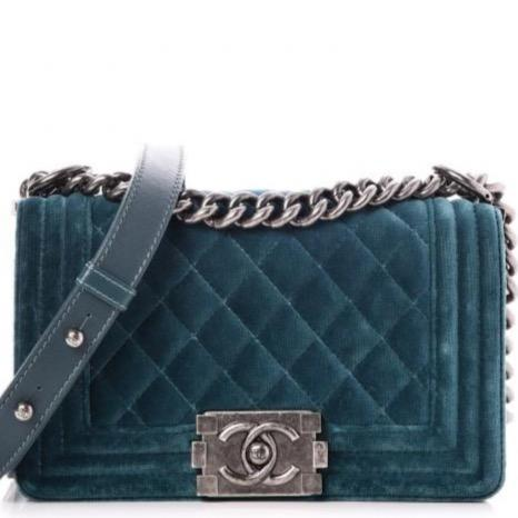CHANEL Velvet Quilted Boy Flap Green - LECLASSIQUE