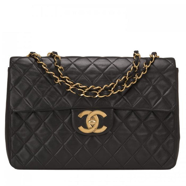 Chanel Vintage Black Quilted Jumbo Classic Flap - LECLASSIQUE
