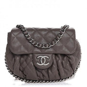 CHANEL Washed Lambskin Quilted Mini Chain Around Flap Taupe - LECLASSIQUE