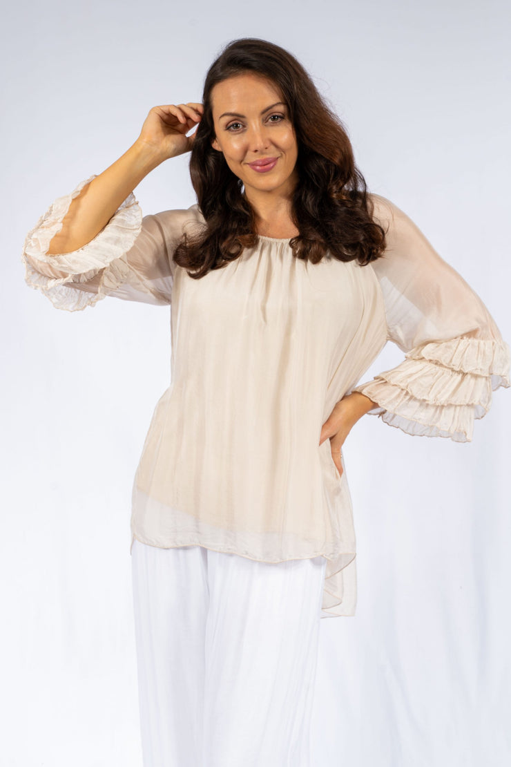 Top - Italian Silk Ruffle Slv Tunic