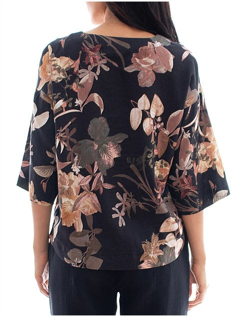 Top - 3/4 SLV Midnight Lily Printed by JUMP