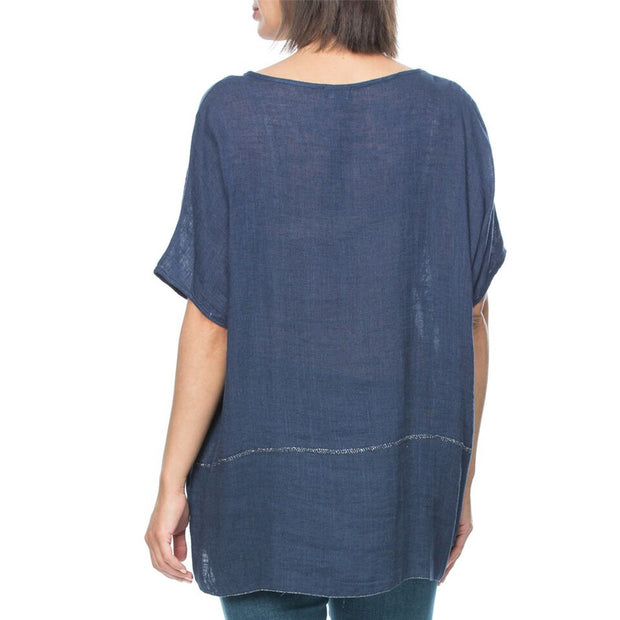 Top - Embroidered Pocket Linen by Threadz