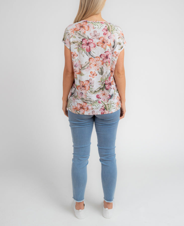 Top - Tropical Spice Linen Tee by JUMP