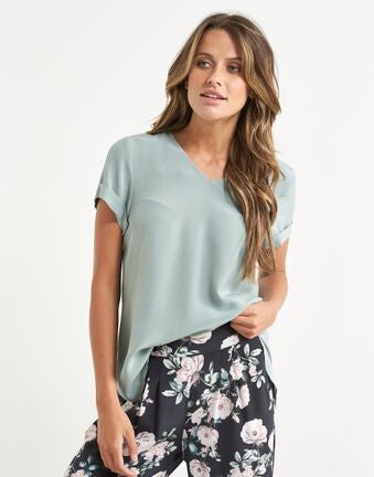 Top - Extended Shoulder 100% Silk Tee by JUMP