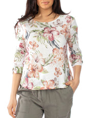 Top - Tropical Spice Linen Drop Shoulder by JUMP