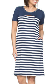 Dress - Slit Front Navy/White by Threadz