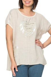 Top - Appliqued Beige Heart by Threadz