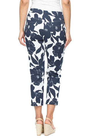 Pant - Navy Print Cotton by Threadz