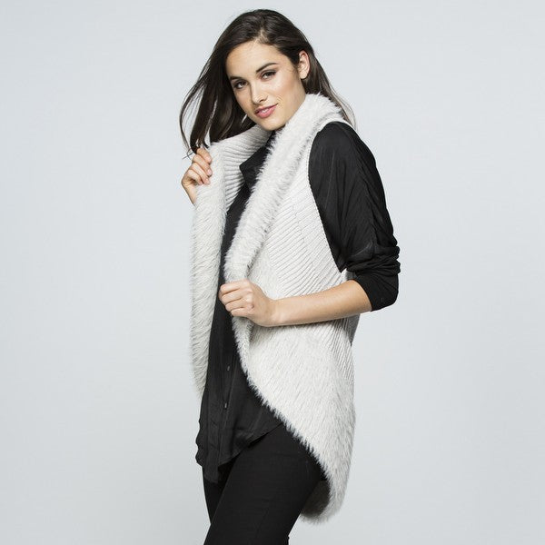 Vest - Faux Fur Knit by Threadz