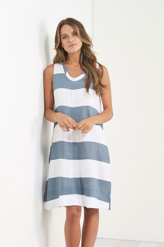 Dress - Linen Printed Strip by JUMP