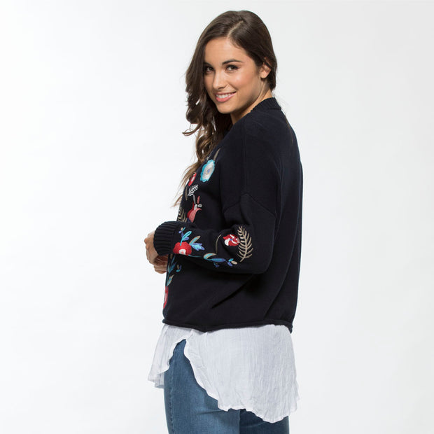 Jumper - Floral 100% Cotton Embroidered by Threadz