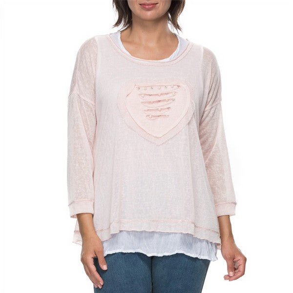Top -  2 in 1 Pearls & Hearts by Threadz