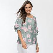 Top - Summer Flowers Print by Threadz