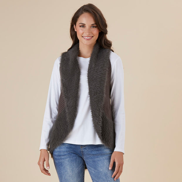 Vest - Faux Fur Charcoal by Threadz