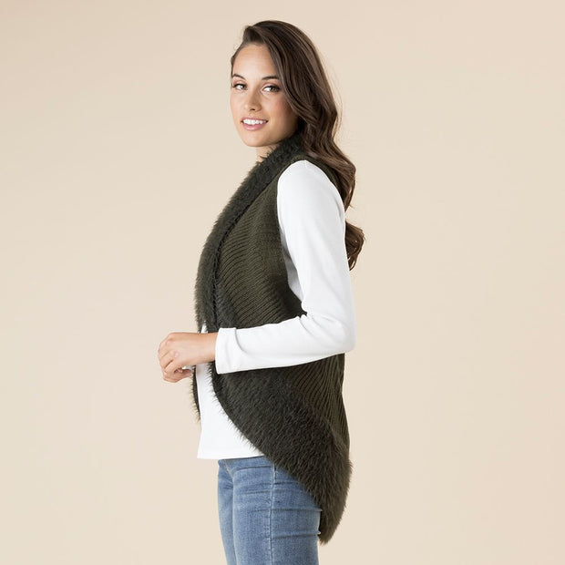 Vest - Faux Fur Dark Khaki by Threadz