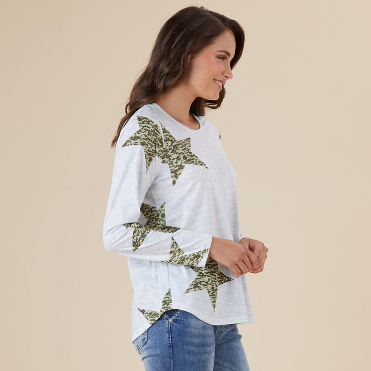 Top - Star Print Long SLV Tee by Threadz