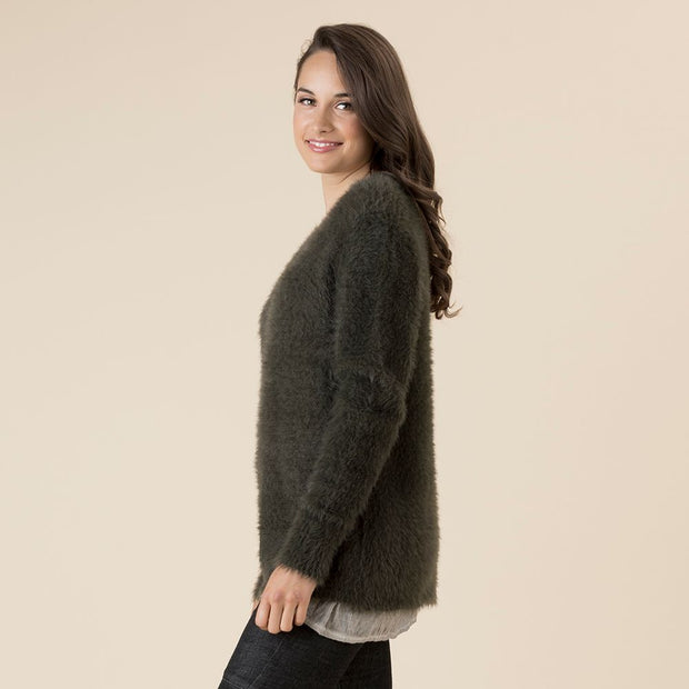 Jumper - Faux Fur Dark Khaki by Threadz