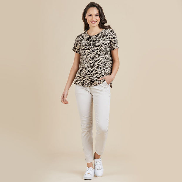 Top - Animal Linen/Cotton Spot Tee