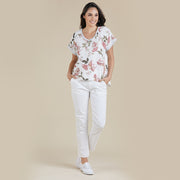 Top - Floral V Neck White by Threadz