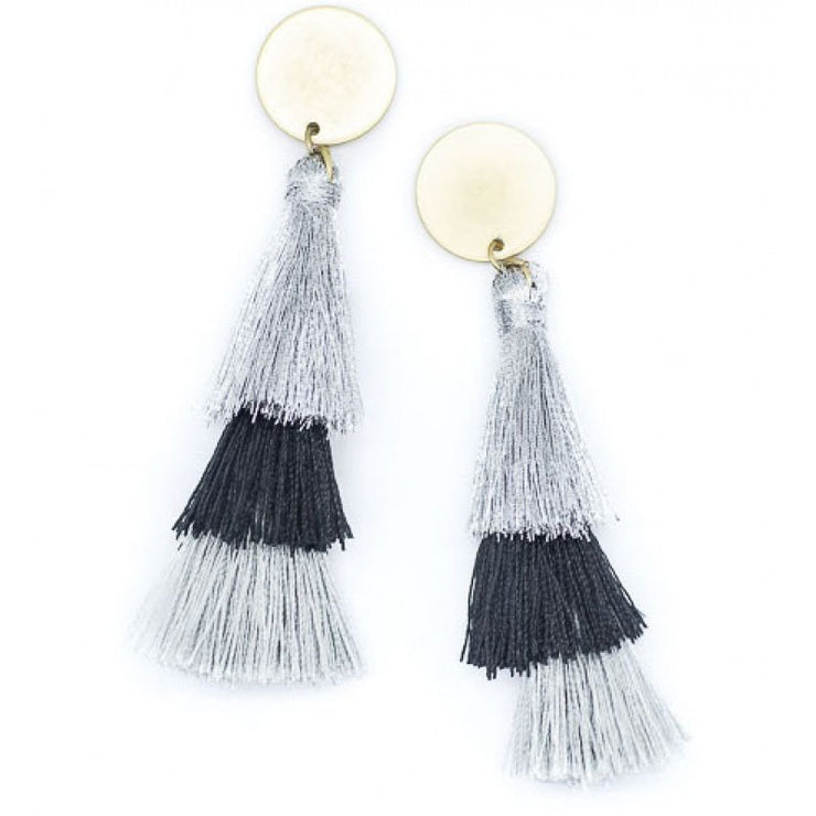 Earring - Tassel Three Tier Black/Silver