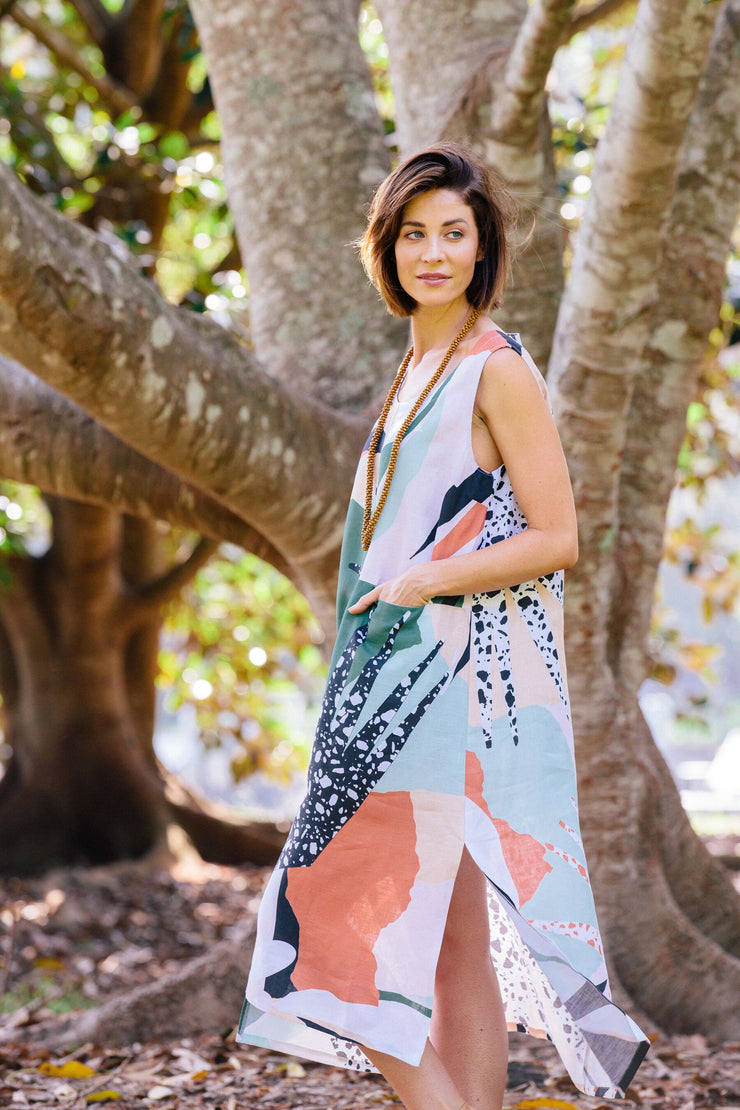 Dress - Art Print Linen Maxi by SEE SAW