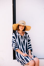 Dress - V Neck Wave Print Linen by SEE SAW