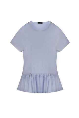Top - Ice Blue Frill Hem Tee by JUMP