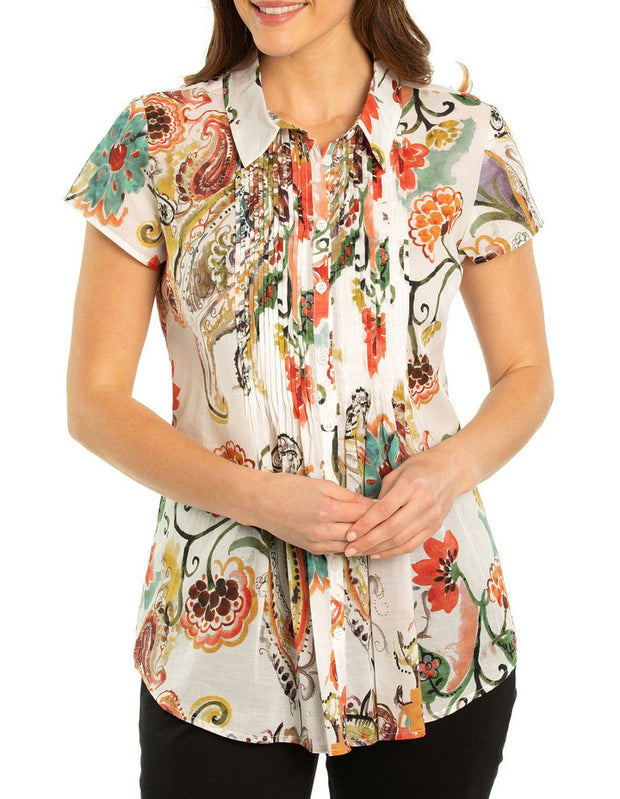Top - Flourish Print Shirt by Yarra Trail