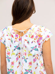 Top - Swallows Print Linen by Yarra Trail