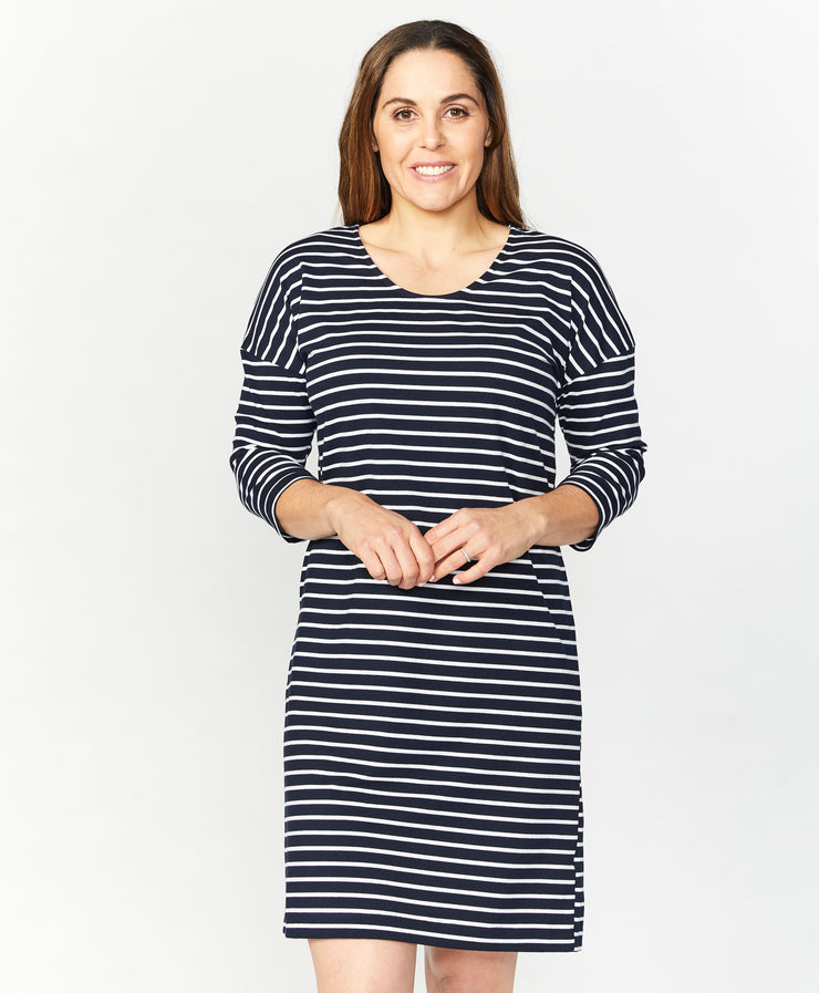 Dress - Stripe 3/4 SLV by SEE SAW