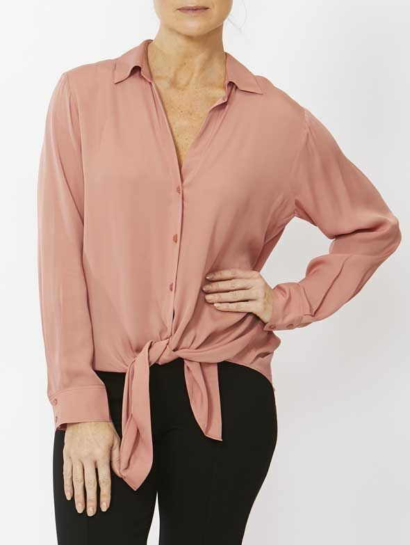Top - Boyfriend Tie Front Shirt by PINGPONG