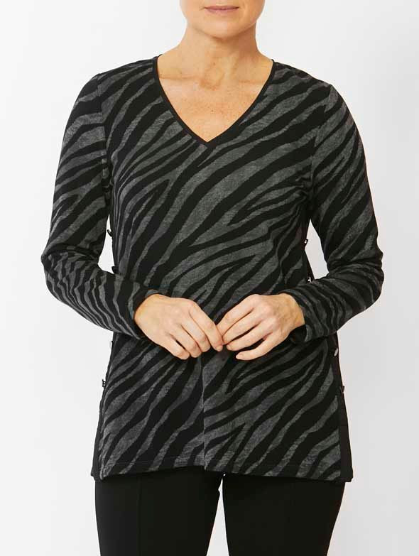 Top - Zebra Print V-Neck by PingPong