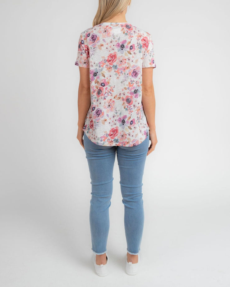 Top - Poppy Floral Linen Tee by JUMP