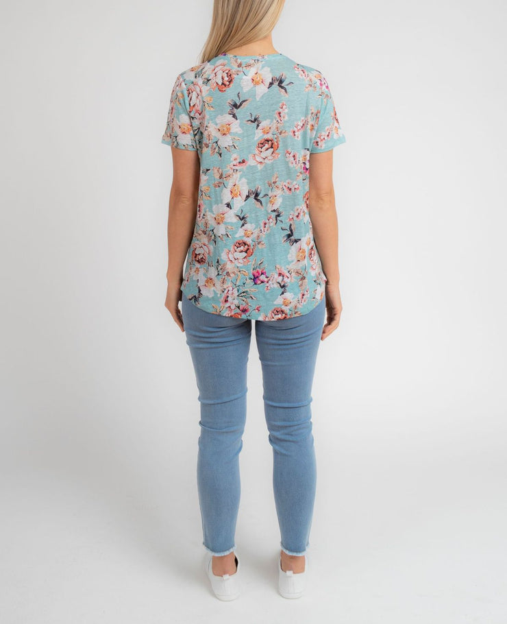 Top - Antique Floral Linen Tee by JUMP