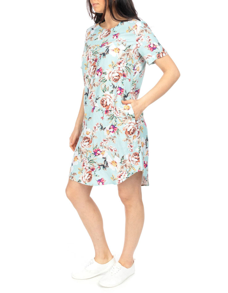 Dress - S/SLV Antique Floral Linen Shift by JUMP