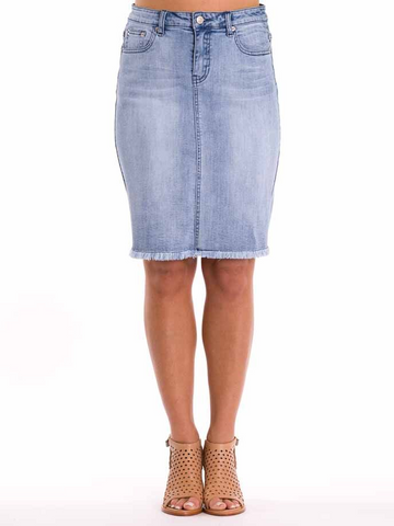 Skirt - Denim Fringe Hem by PingPong