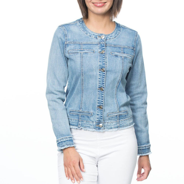 Jacket - Collarless Denim by Threadz