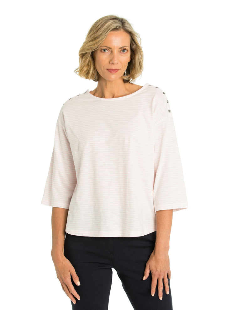 Top - Button Trim Tee