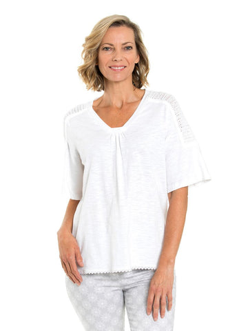 Top - Jaquard Print in White