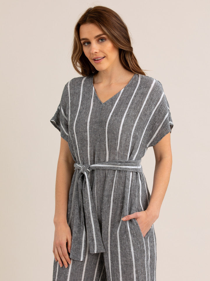 Jumpsuit - Black/White Stripe Linen by Yarra Trail