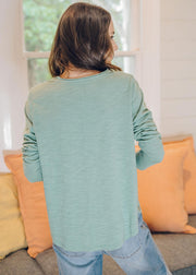 Top - Khaki 100% Cotton Long Sleeve Tee Shirt With Centre Seam