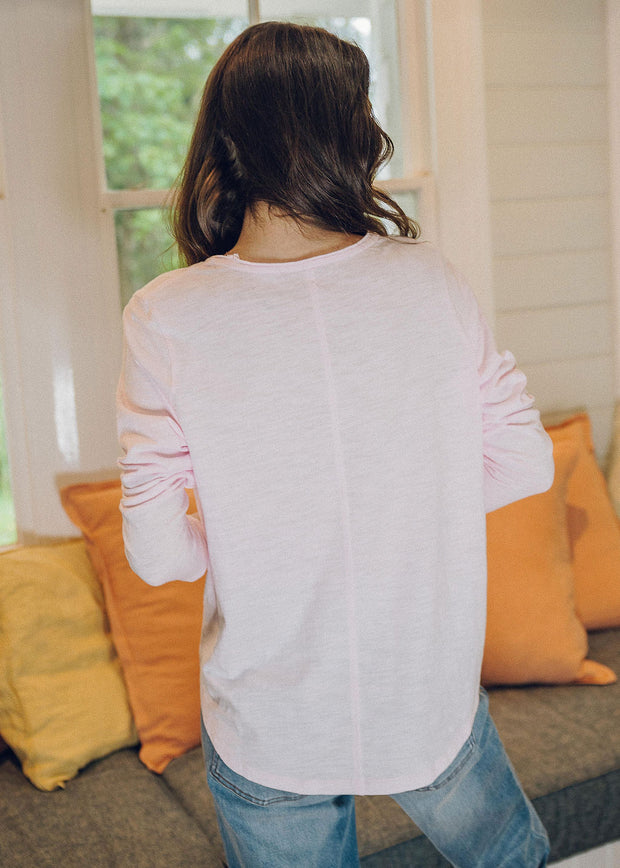Top - Pale Pink 100% Cotton Long Sleeve Tee Shirt With Centre Seam