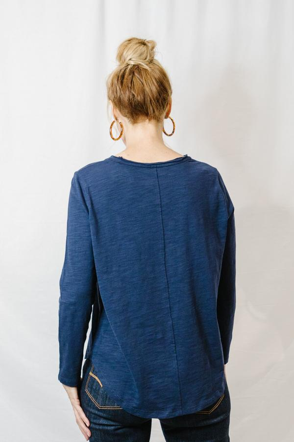Top - Dark Navy 100% Cotton Long Sleeve Tee Shirt With Centre Seam