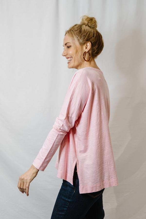 Top - Faded Pink 100% Cotton Oversize Long Sleeve Tee Shirt