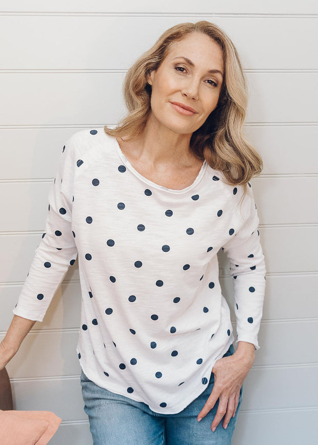 Top - White & Navy 100% Cotton Spot Print Long Sleeve Tee Shirt