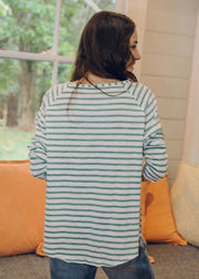 Top -White & Khaki Stripe 100% Cotton Long Sleeve Tee Shirt