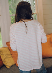 Top -White & Pink Stripe 100% Cotton Long Sleeve Tee Shirt