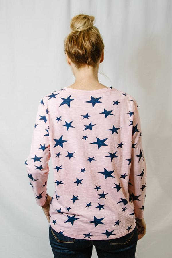 Top - Faded Pink / Navy 100% Cotton Star Print Long Sleeve Tee Shirt