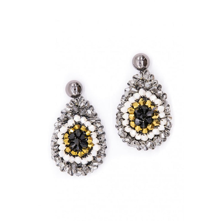 Earring - Drop Beaded Crochet Gold Mix